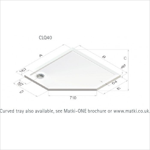 Matki - Continental 40 Raised Pent Shower Tray 1200 x 900mm LH