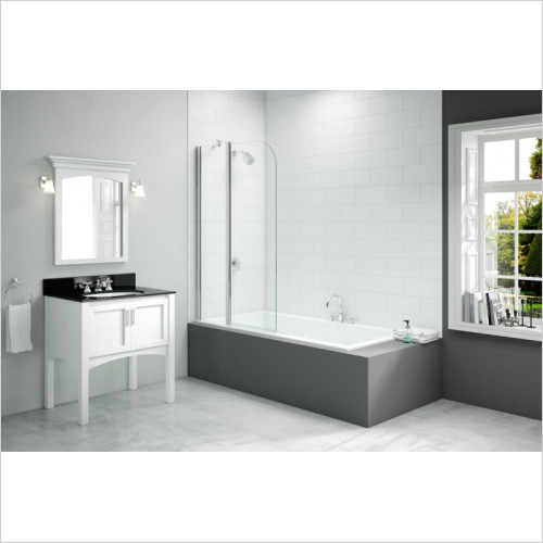 Merlyn - Vivid Two Panel Folding Curved Bathscreen 900 x 1500mm