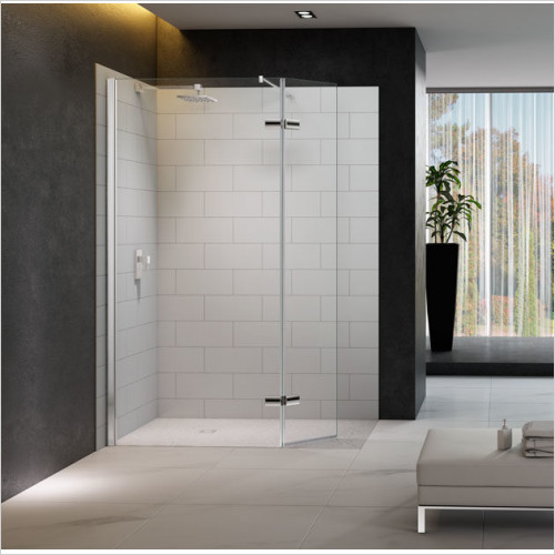 Merlyn - 8 Series Showerwall,Hinged Swivel Panel Incl Tray 1350mm