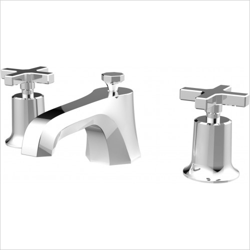 Saneux - Cromwell 3TH Basin Mixer With Waste - Cross Handle