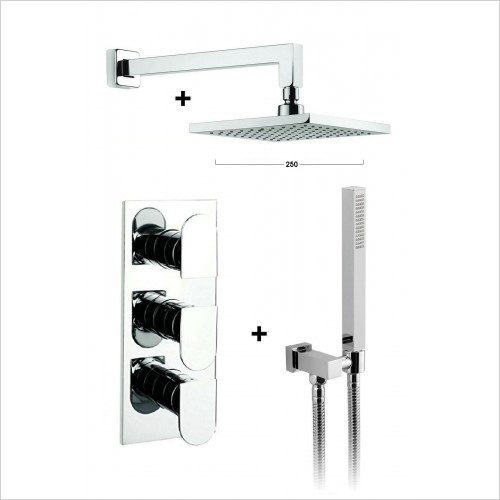 Crosswater - Square 2 Way Concealed Thermostatic Valve 250 Over Head