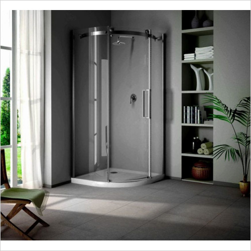 Saneux - Steel LH Offset Quadrant Shower Enclosure 1000 x 800mm