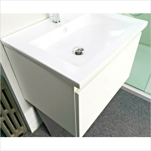 Empress Bathrooms - White Wall Hung 600 1 Drawer Vanity Unit + Ceramic Basin