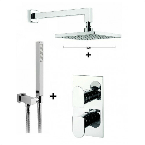 Crosswater - Square 2 Way Concealed Thermostatic Diverter 200 Over Head